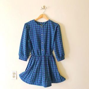 80s Geo Print Secretary Style Mini Dress